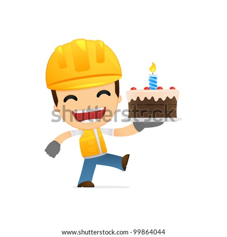funny cartoon builder in various poses for use in advertising, presentations, brochures, blogs, documents and forms, etc. - stock vector