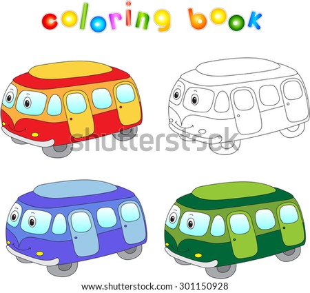 Funny cartoon bus. Coloring book for children. Vector illustration