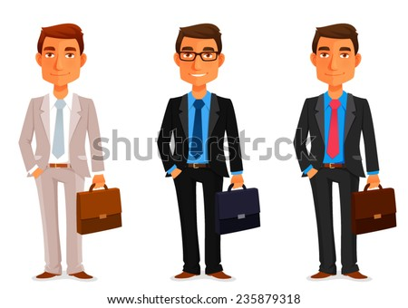 funny cartoon businessman with a briefcase - stock vector