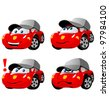 Funny cartoon car emotions - stock vector