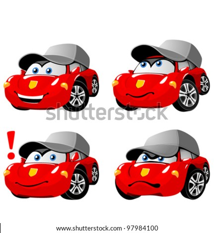 Funny cartoon car emotions - stock vector