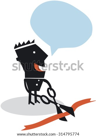 Funny cartoon character cutting red ribbon - stock vector