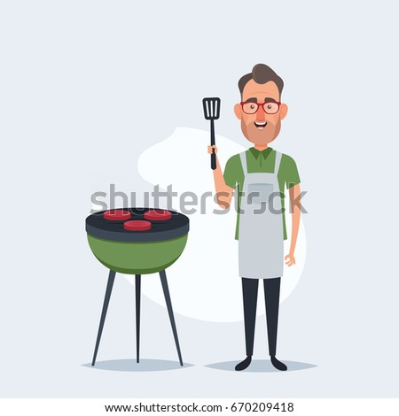 Funny Cartoon Character. Man Standing Near the Barbecue Grill. Vector Illustration