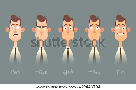 Funny Cartoon Character. Office Worker's Emotions from Monday to Friday. Vector Illustration - stock vector