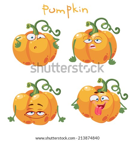 Funny cartoon character with many expressions of pumpkin - stock vector