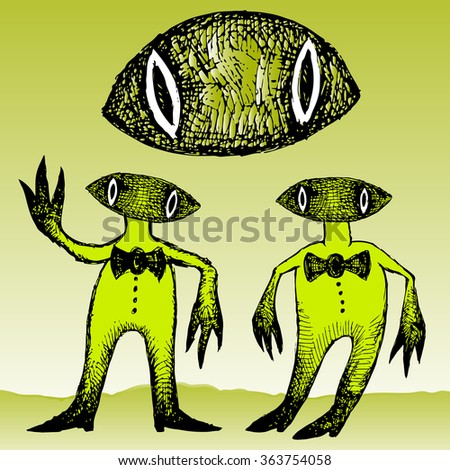 Funny cartoon characters. Grotesque and surreal creatures - stock vector