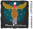 Funny cartoon christmas moose in winter hat and scarf on chalkboard background. - stock vector