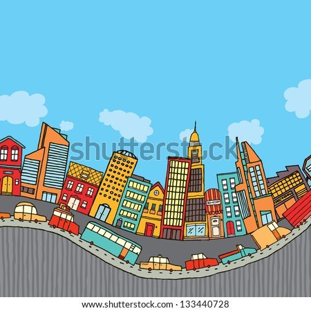 Funny cartoon city with cop yspace - stock vector
