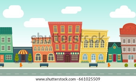 Funny Cartoon Cityscape Street Panorama Houses Stock ...
