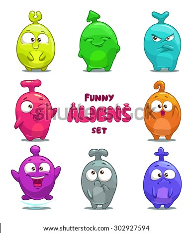 Funny cartoon colorful aliens, vector isolated characters - stock vector