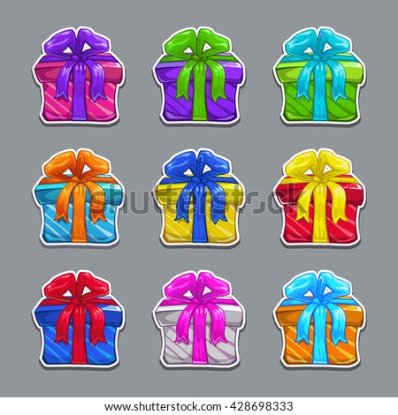 Funny cartoon colorful gift boxes set stock vector 428698333 funny cartoon colorful gift boxes set vector gift box stickers negle Gallery