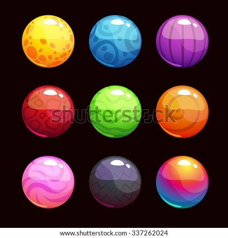 Funny cartoon colorful shiny bubbles, vector elements for game design - stock vector