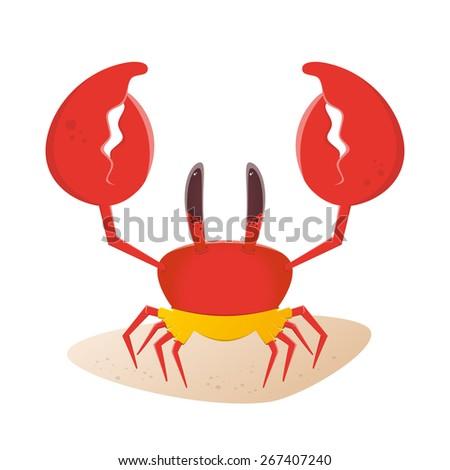 funny cartoon crab in yellow trunks - stock vector