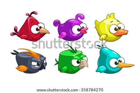 Funny cartoon crazy birds set, vector game elements, isolated on white - stock vector