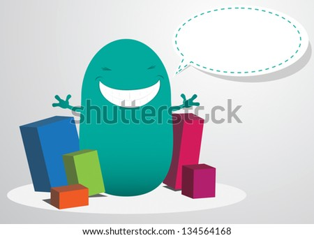 Funny Cartoon Creature with Message bubble - stock vector
