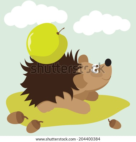 funny cartoon cute hedgehog with apple background for use in design for card, invitation, poster, banner, placard or billboard cover - stock vector