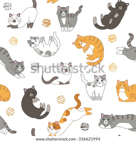 Funny cartoon cute red, orange, gray, white, black cats. Seamless pattern  for children. Sleeping and playing kittens - stock vector