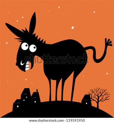 Funny cartoon donkey - stock vector