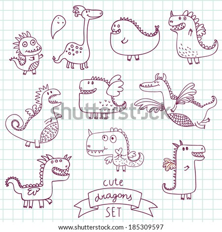 Funny cartoon dragon set in vector. Doodle fantastic characters