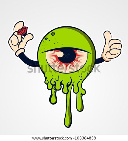 Funny Cartoon eyeball with hands and diamond - stock vector