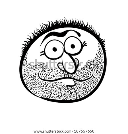 Funny cartoon face with stubble, black and white lines vector illustration. - stock vector