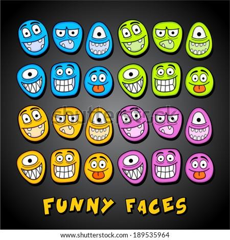 Funny cartoon faces. - stock vector