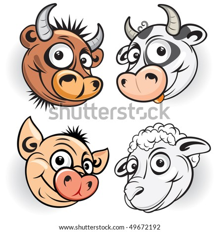 Funny cartoon farm animals, vector mascot of smiling bull, cow, pig and sheep.