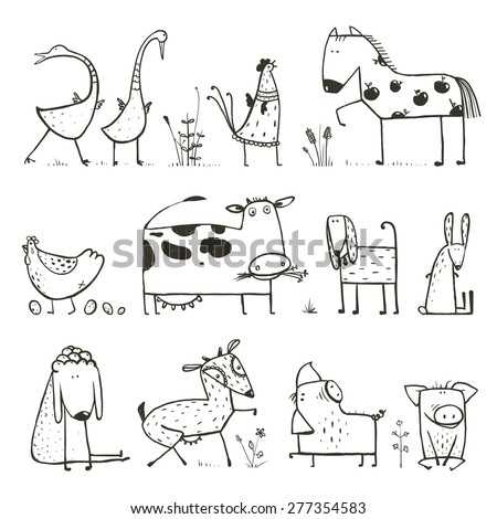 Funny Cartoon Farm Domestic Animals Collection For Kids Coloring Page Countryside Cottage Illustration