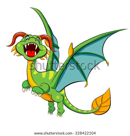 Funny cartoon flying dinosaur on a white background. Vector illustration.