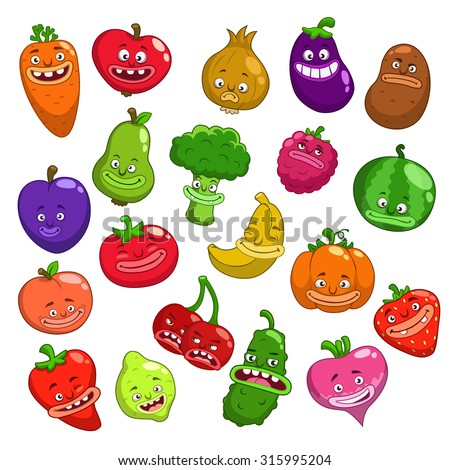 Funny cartoon fruits and vegetables characters, vector set, isolated on white - stock vector