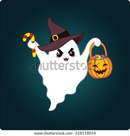 Funny cartoon ghost. Halloween vector illustration - stock vector