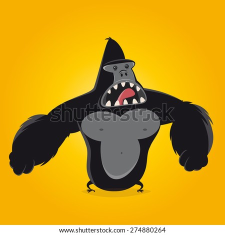 funny cartoon gorilla - stock vector