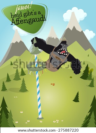 funny cartoon gorilla with sign that means yes today there will be ape fun - stock vector
