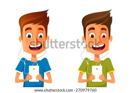 funny cartoon guy listening to music from his cell phone - stock vector