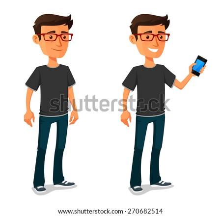 funny cartoon guy with mobile phone - stock vector
