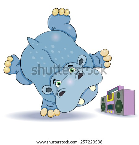 Funny cartoon hippo dancing breakdance and does handstand on hand. Near the dancer stands tape.  - stock vector