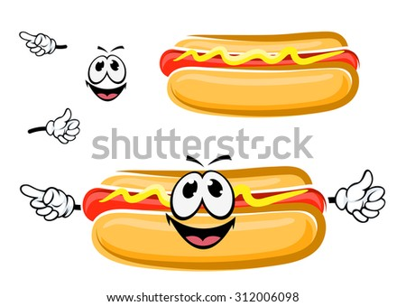 Funny cartoon hot dog sandwich with happy face, isolated on white. For fast food and takeaway menu design - stock vector