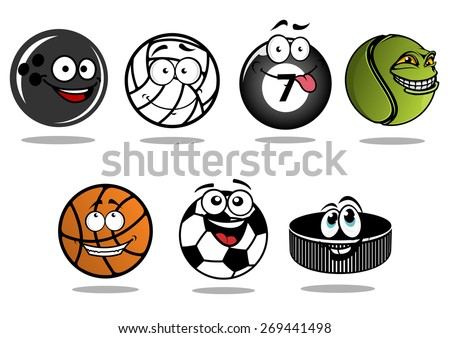 Funny cartoon ice hockey puck and sporting balls characters showing classic equipment for volleyball, football or soccer, basketball, ice hockey, bowling, billiards and tennis with happy smiling faces - stock vector