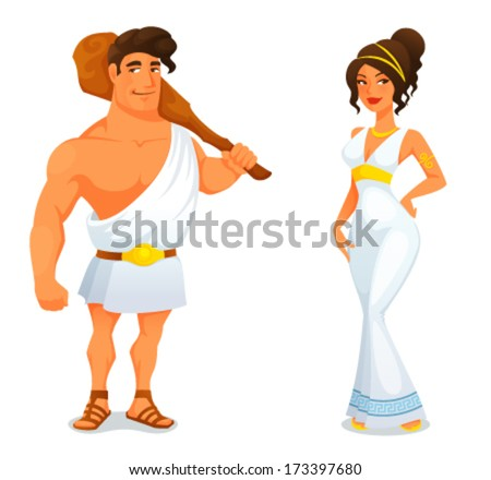 funny cartoon illustration from Greek history - an ancient hero Hercules and a beautiful Greek goddess - stock vector