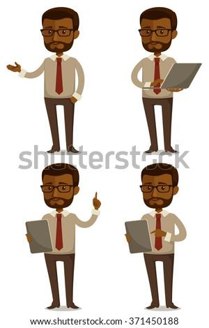 funny cartoon illustration of African American businessman - stock vector