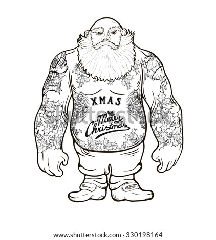 Funny cartoon illustration of mighty Santa Claus chest with Christmas tattoos with greeting. - stock vector