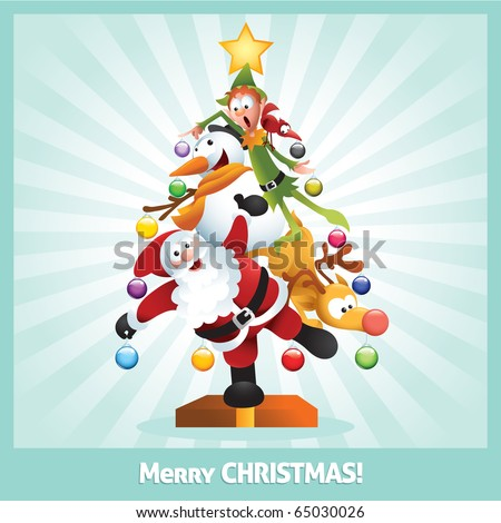 Funny cartoon illustration of santa claus, elf, Reindeer, snowman and red bird posing together as a Christmas tree. Each character is in separate layer. - stock vector