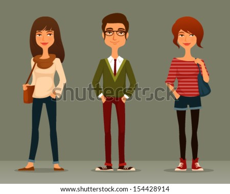 funny cartoon illustration of young people with hipster fashion style - stock vector