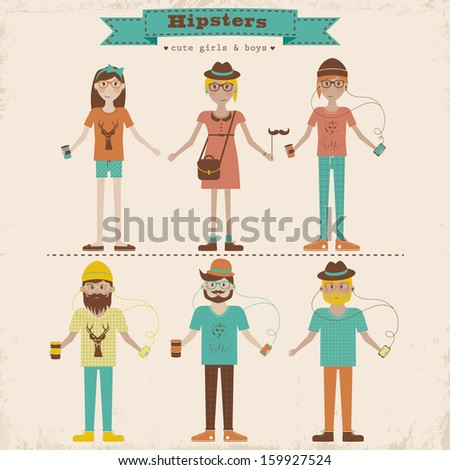 Funny cartoon illustration of young people with hipster fashion style. Hipster girls and boys set - stock vector