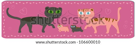 funny cartoon image of cats family with kittens - stock vector