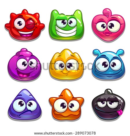 Funny cartoon jelly characters, isolated on white, vector illustration - stock vector