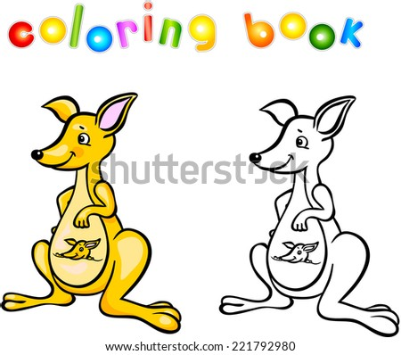 Funny Cartoon Kangaroo Coloring Book Vector Illustration For Child