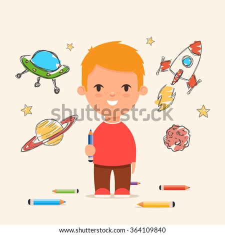 Funny Cartoon Kid Drawing Space on the Wall. Colorful Vector Illustration
