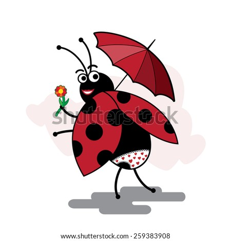 funny cartoon ladybug pinup with umbrella - stock vector