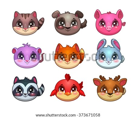 Funny cartoon little cute animals faces, bubble items for game design, vector gui assets - stock vector